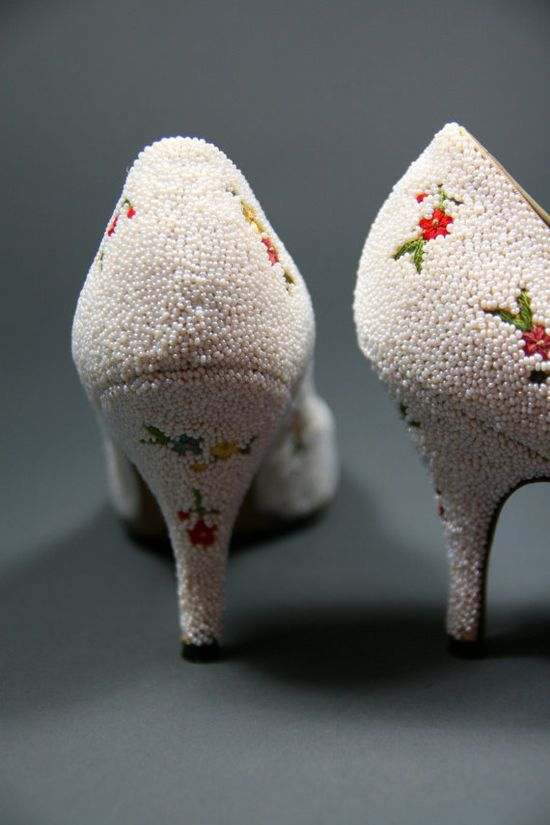 vintage beaded embroidered floral pumps $275
