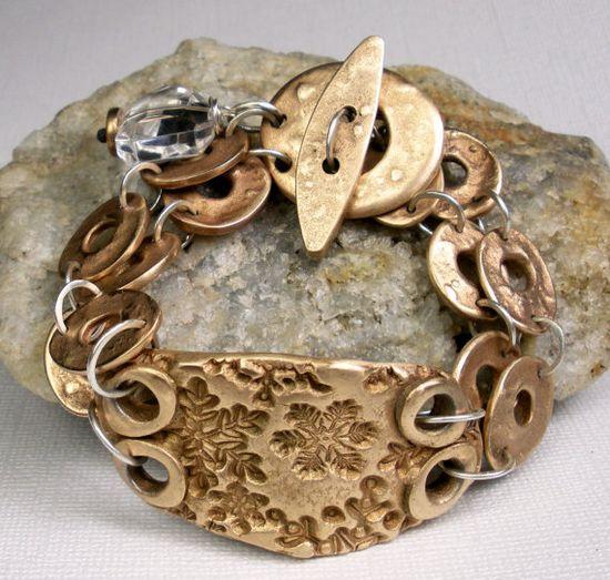 Bronze Chain Bracelet.  Washers, washers, washers!!