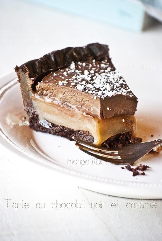 Tarte au chocolat noir et caramel