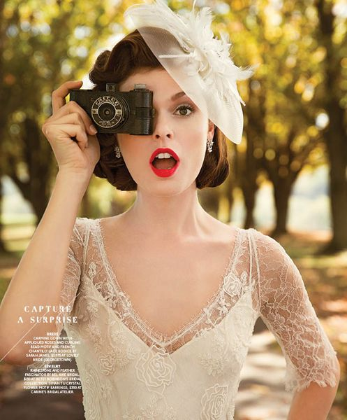 Loving the red lip and fascinator paired with our Carmine gowns sheer lace sleeves and sleek shape...in the Washingtonian Bride and Groom editorial.  Totally plays up the gowns retro side!