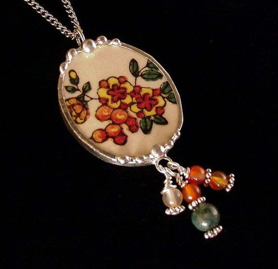 Autumn fall floral broken china jewelry oval necklace pendant made from a broken plate