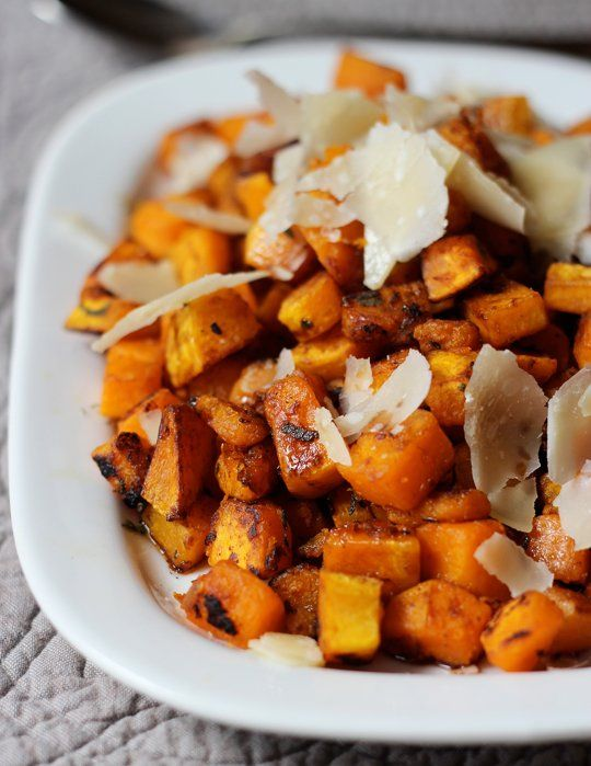 A Side Dish Recipe for Roast Chicken: Pan-Seared Butternut Squash with Balsamic & Parmigiano Shards
