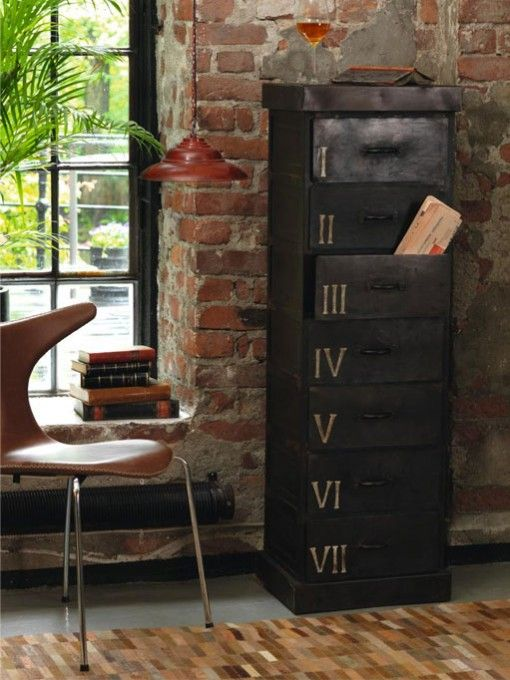 very industrial chic... loving it! Brick wall metal cabinet interior design office