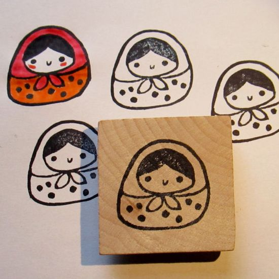 Matrioshka hand carved rubber stamp  ready to be shipped by hola, $15.00