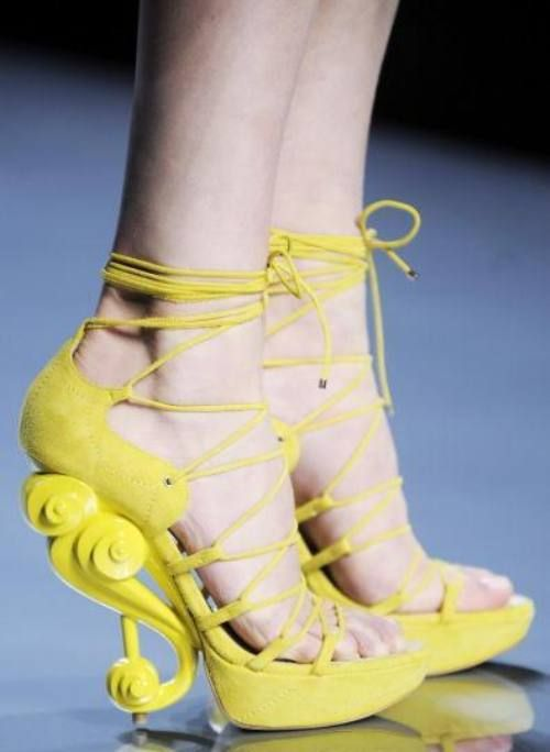 Rococo inspired yellow shoes