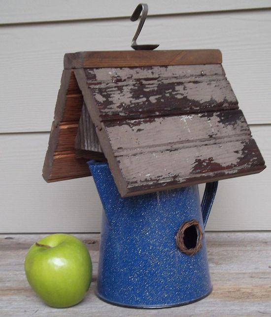 Rustic Birdhouse Whimsical Birdhouse made with recycled kitchen stuff