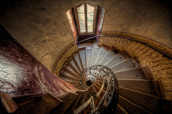LOVE this tower staircase in an abandoned castle in Europe.
