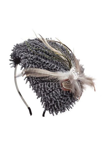 Feather Hat Shape Grey Headband