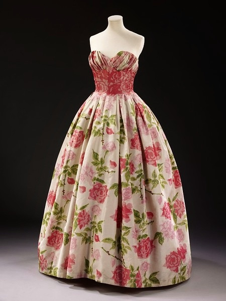 rose print 1957 evening dress