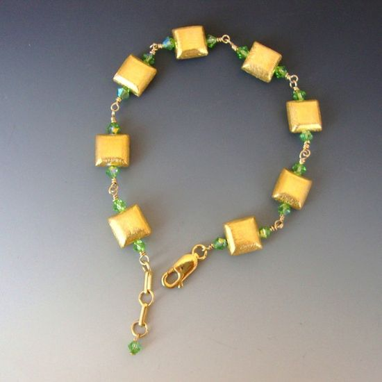 Jewelry Bracelet Gold Vermeil Beads Peridot by CalliopeAZCreations, $55.00