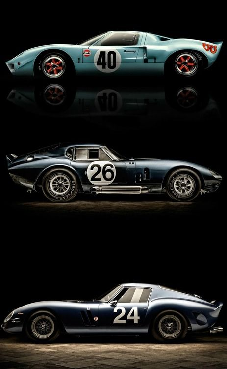 Legends: Ford GT40, Shelby Daytona Coupe, Ferrari 250 GTO.