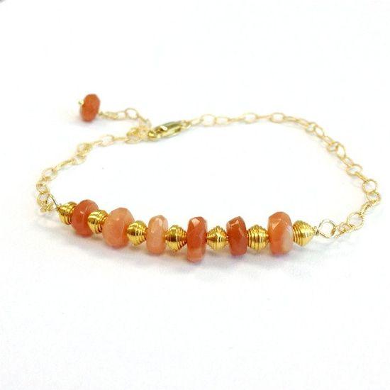 Peach Moonstone Bracelet Gold Jewelry Gemstone by jewelrybycarmal, $55.00