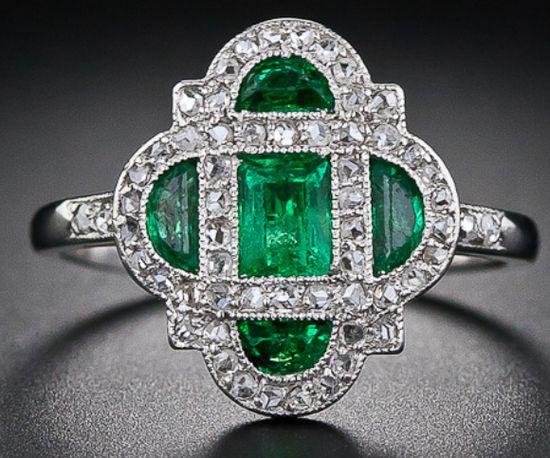 Art Deco emerald and diamond ring, circa 1920. Via Diamonds in the Library.