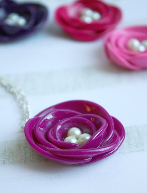 Gorgeous handmade rose necklaces in vibrant colours