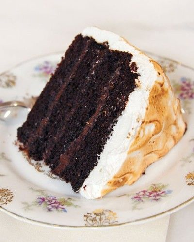 Chocolate Cake with Malted Chocolate Ganache and Toasted Marshmallow Frosting Recipe