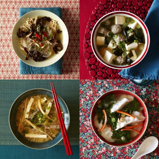 Asian Souper Bowl by Andrea Nguyen, WSJ: 4 satisfying slurpable soups (Chicken and Cellophane Noodle Soup; Tofu, Seaweed, and Pork Soup; Gyoza Dumplings in Smoky Chicken Soup; Hot-and-Sour Soup) made with one mother chicken broth. #Soup #Asian_Soup #wsj #Andrea_Nguyen