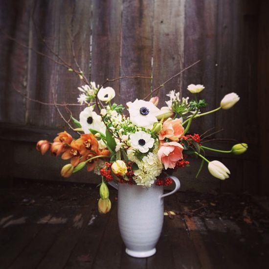 Anemones, tulips, hydrangeas, and berries