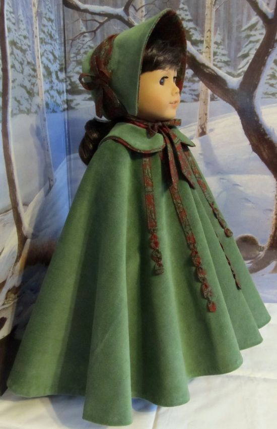 $144.49 Full Circle Christmas Cloak & Bonnet- Fits American Girl Doll, An Original KeepersDollyDuds Desighn.