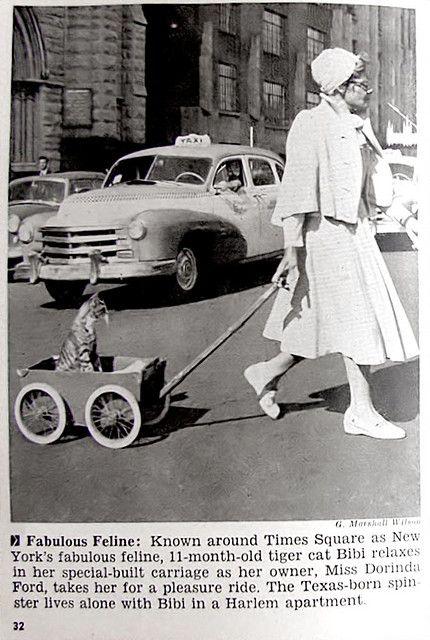 Spinster avec cat (selon la description) Times Square, Jet Magazine 1956