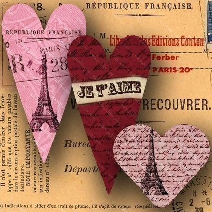 Digital collage sheet made of French love letters from the 1700s, detailed engravings from the 1800s, and lots of random vintage French ephemera.