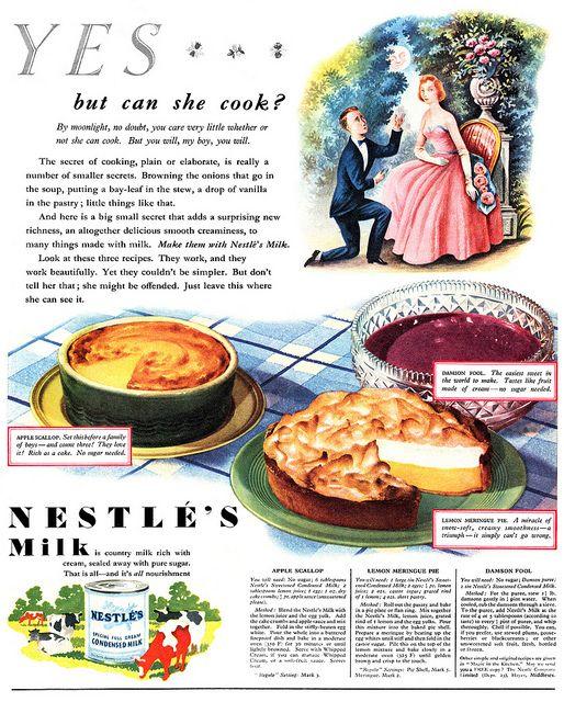 Nestlé's Milk advertisement, September 1950. #vintage #food #ads #1950s