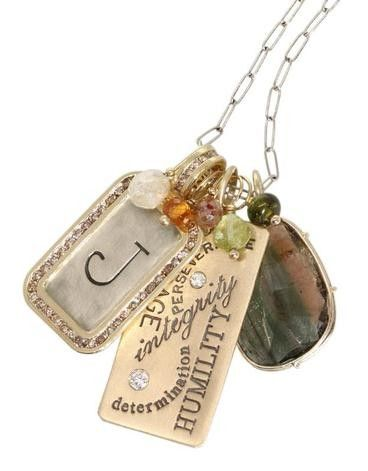 Starfish Jewelry Store - ID Tag Necklace....love the different textures, the positive message and it has my initial