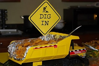 Dig In! Cute way to serve food at a construction themed party.
