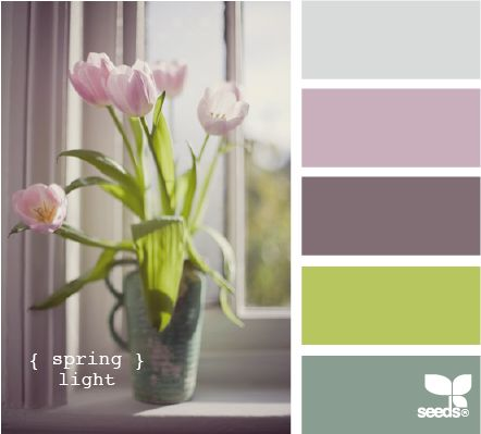 spring light. almost the colors I'm looking for. add gray, white, I've seen an aqua type color look really nice with the purple and green too.