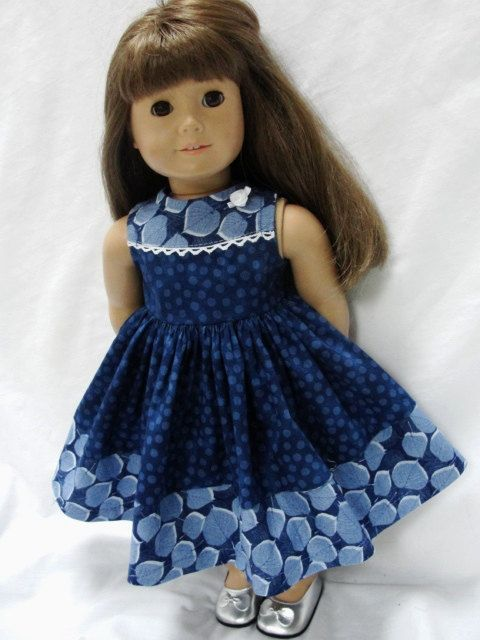American Girl Doll Clothes - Navy Leaves Print Polka Dot Dress for 18 Inch Dolls