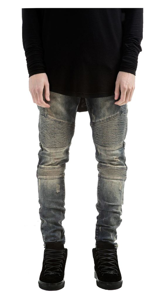 Blue Sandstone Distressed Biker Denim | REPRESENT CLO