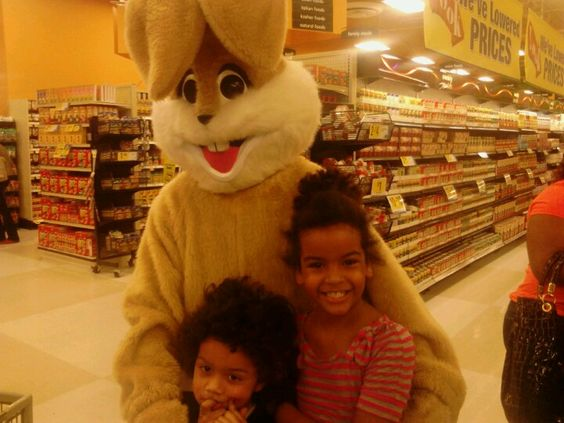 Isaiah and Rayna and the Easter bunny
