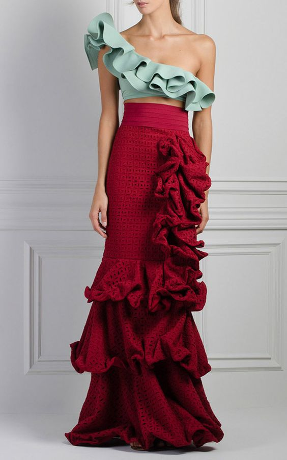 Crab Ruffle Skirt by JOHANNA ORTIZ for Preorder on Moda Operandi