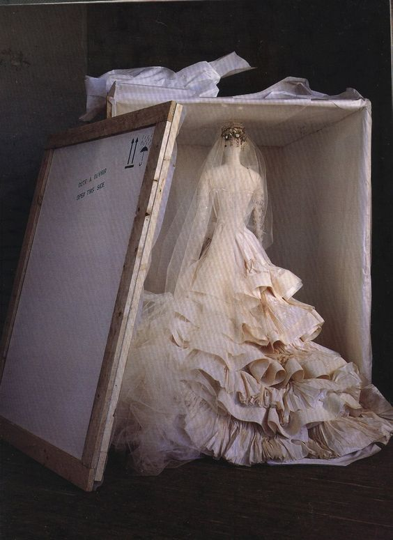When shipped abroad a christian lacroix wedding dress travels upright in a c - Tissu christian lacroix ...