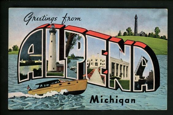 Large Letter linen Vintage postcard Alpena, Michigan MI Kropp lighthouse