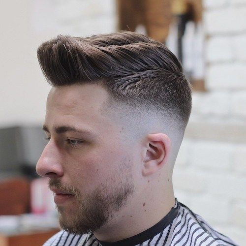 Low Skin Fade with Brush Back