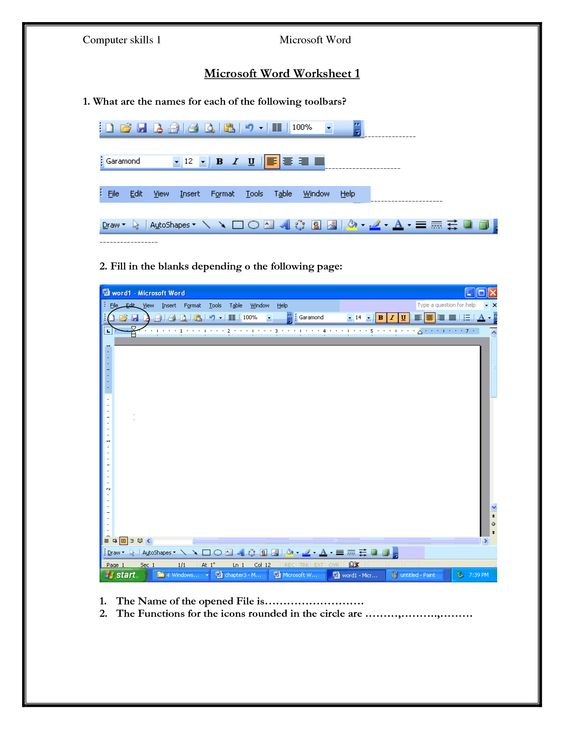 Printables Microsoft Word Worksheet computer skills worksheets 1 microsoft word worksheet what are