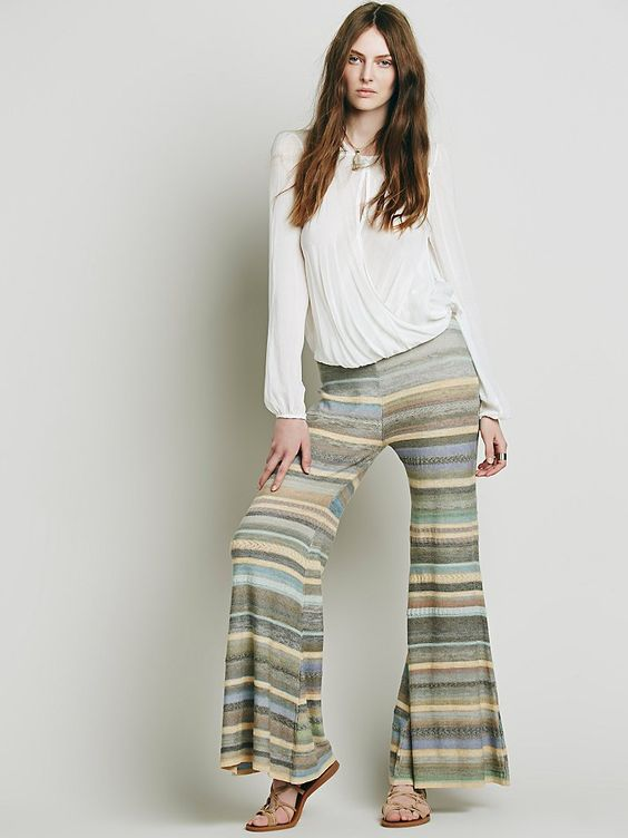 Free People Stripe Flare Pants at Free People Clothing Boutique