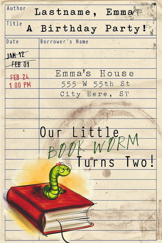 Bookworm birthday party ideas from http://rebeccalundin.com/2013/02/emmas-second-birthday-party/