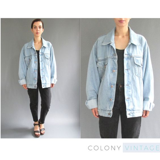 RESERVED 90s Oversized Light Wash Denim Jacket Medium Large ...