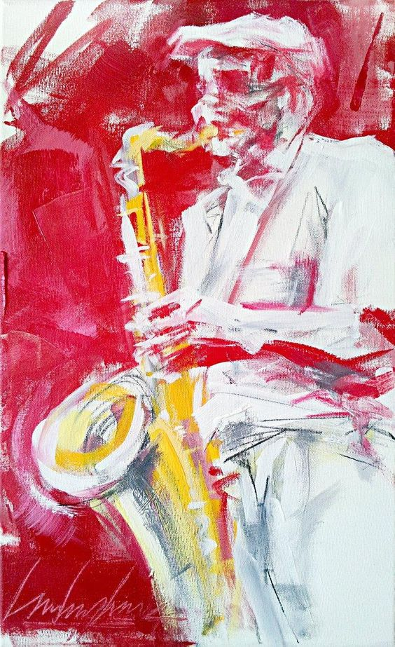 """Old Sax""  Acrylic on stretched canvas. 50x30cm (19,7""x11,8""). 2015 © Luis Levy Lima"