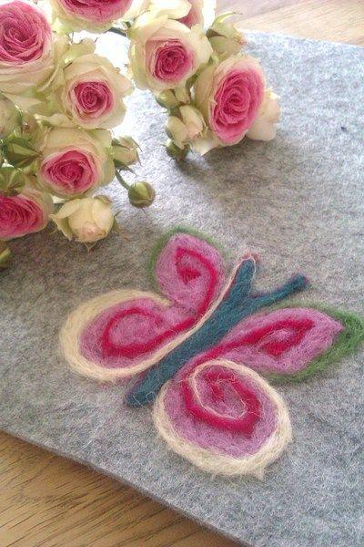 Platzsets - Platzset Tischset Filz Schmetterling - ein Designerstück von Andati bei DaWanda