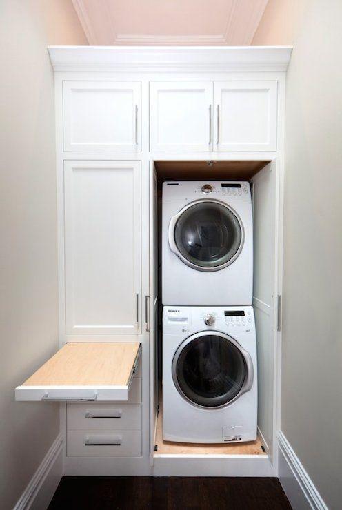 Marsh and Clark - laundry/mud rooms - hidden laundry room, hidden laundry area, laundry room cabinets, laundry room cabinetry, slide out fol...