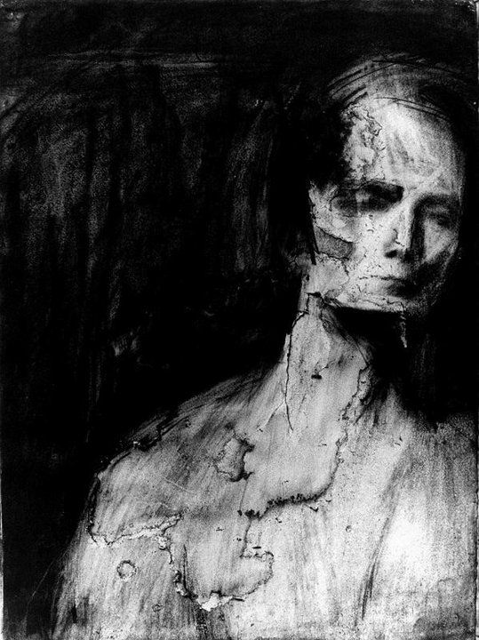 """If you're going through hell, keep going."" - W.Churchill.  Painting - Frank Auerbach."