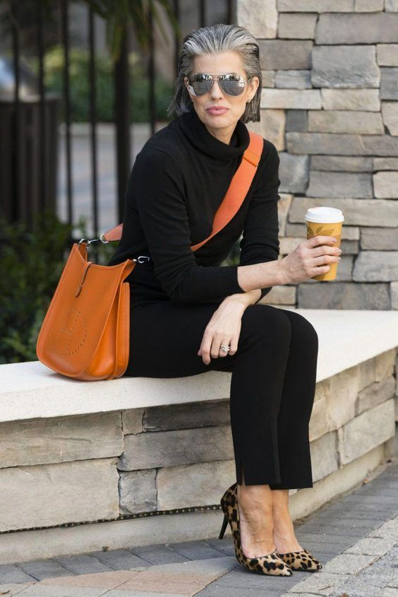 All Black Outfit with Hermes Orange Evelyn Crossbody Bag #Hermeshandbags