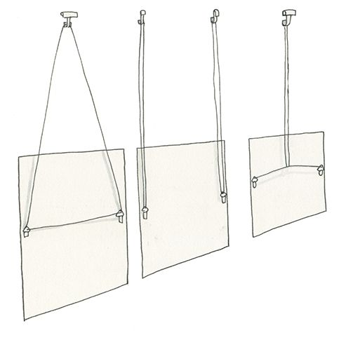 Three different ways to hang art from picture rail molding: page 82 of How to Hang a Picture.