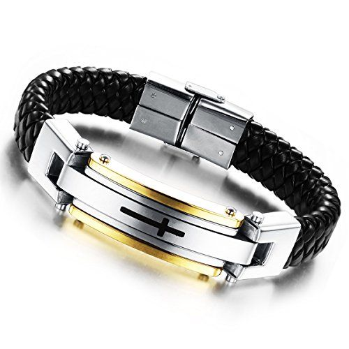 Cupimatch Mens Stainless Steel Braided Leather Wristband Bracelet Bangle