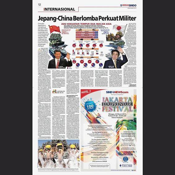 Jepang China Berlomba Perkuat Militer • Adu Kekuatan Tempur Dua Macan Asia Koran Sindo edisi Nasional 9 Maret 2015 . . . . . #newspaper #newspage #newspagedesign #newspagedesigner #societynewsdesign #snd #newsdesign #infographic #graphic #design #graphicdesign #printdesign #koransindo #indonesia #infografis #grafis #jepang #china #militer