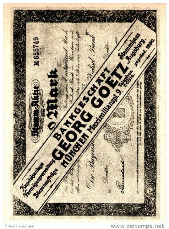 Original-Werbung/ Anzeige 1925 - BANKGESCHÄFT GEORG GOETZ - MÜNCHEN - MAXIMILIANSPLATZ 9 - ca. 65 x 100 mm