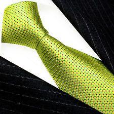84408 Lorenzo Cana - Marken Krawatte 100% Seide Limone Gelb Tuerkis Punkte