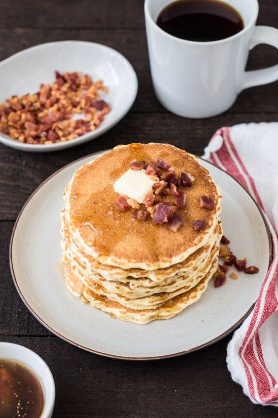 Cornmeal Pancakes with Pancetta & Fig-Maple Syrup #pancake #cornmeal #fig